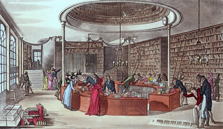 "Lackington's ""Temple of the Muses,"" from Ackermann's Repository, 1809"